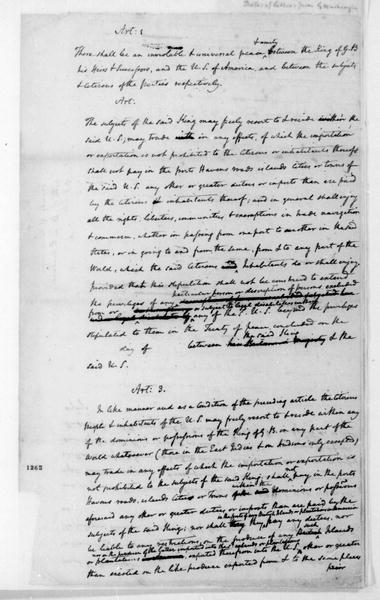 James Madison. Notes - British Commercial Treaty.