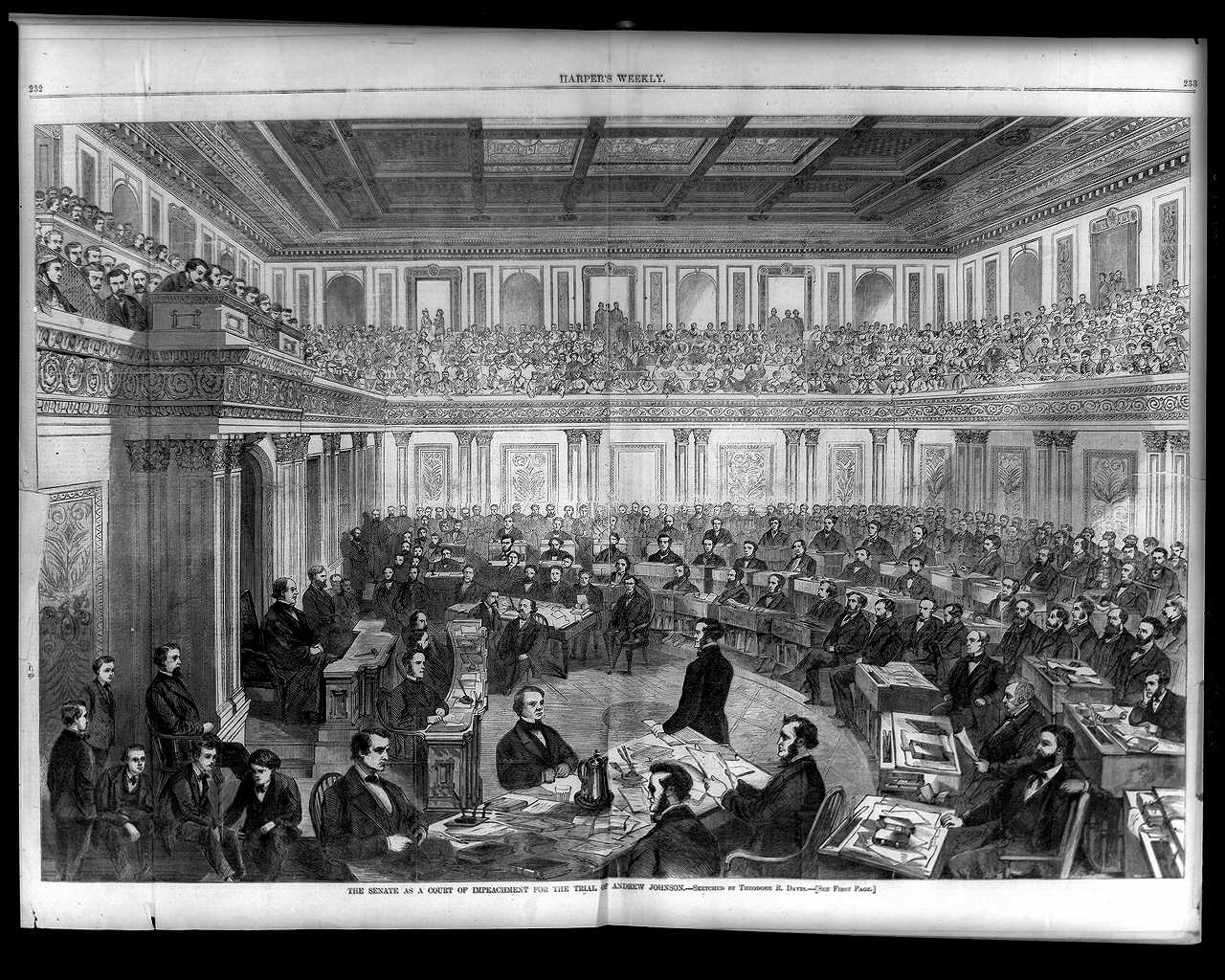 Il senato vota sull'impeachment di Johnson. 1868.