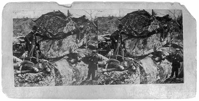 Dead at Little Round-Top - position of Berdan's Sharpshooters - Gettysburg