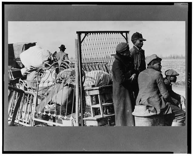 Evicted sharecroppers along Hwy. 60, New Madrid County, Miss. Arthur Rothstein, photographer. January 1939.