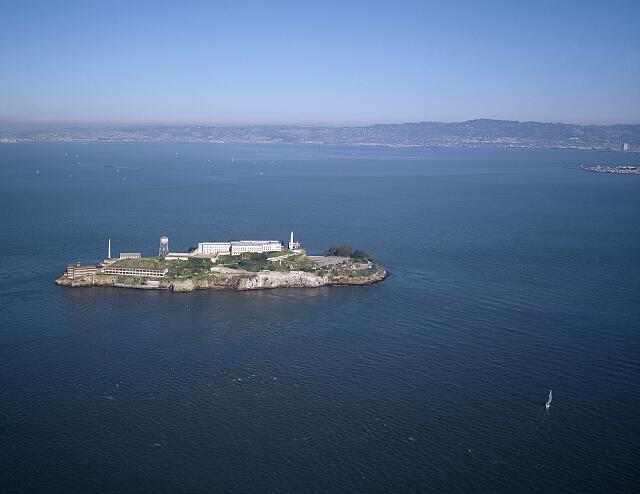 Aerial view of Alcatraz Island, San Francisco, California