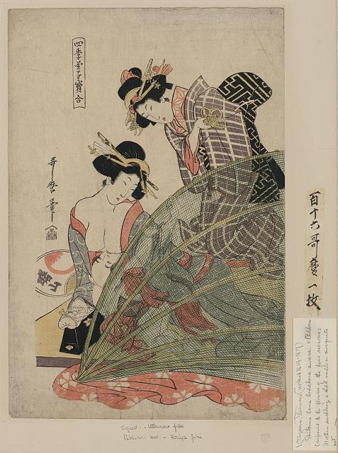 Women with mosquito netting.  1806-1810.  Artist:  Utamaro II.