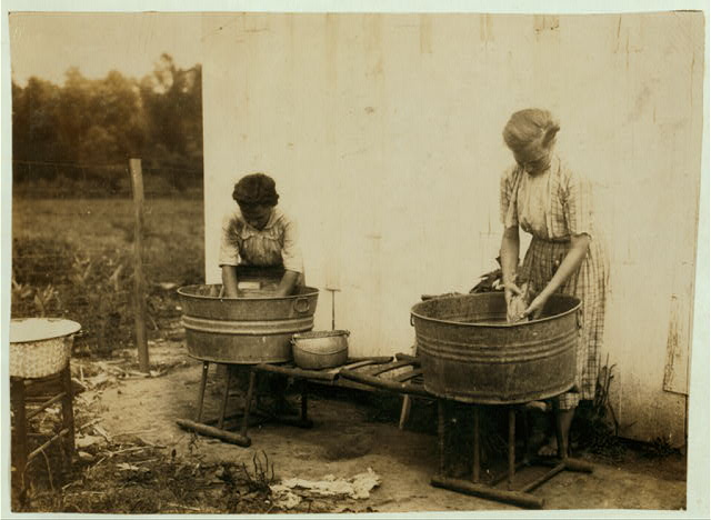 Zelina & Florence Richards doing the family wash.  1916.  Library of Congress.