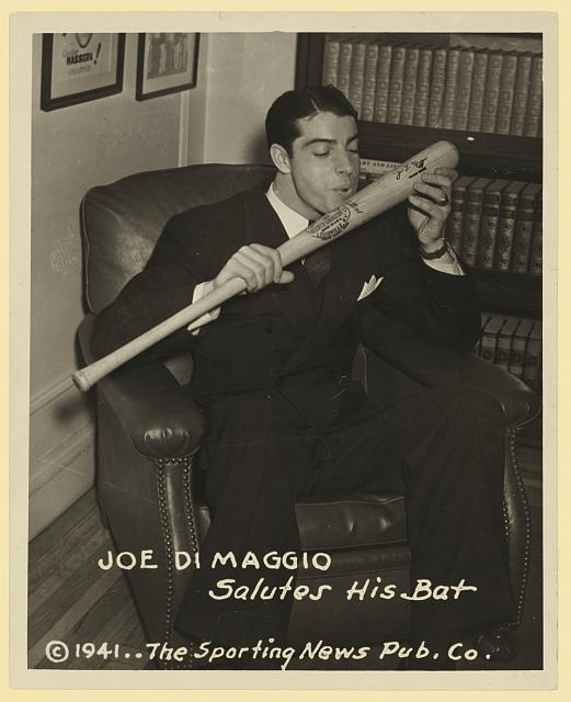 Joe DiMaggio salutes his bat.  1941.  Library of Congress.