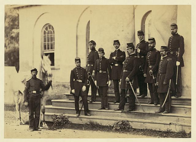 General Irvin McDowell and staff, Arlington House, 1862 (Library of Congress)  General Irvin McDowell and staff, Arlington House, 1862
