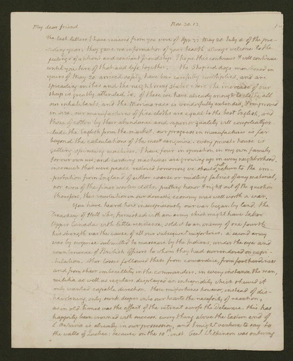 Thomas Jefferson letter, 1813 Nov. 30.