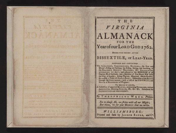 George Washington diary, 1762. Autograph manuscript written in the leaves of the 1762 Virginia Almanack.